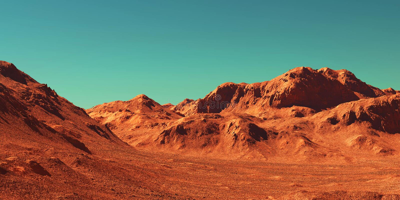 Mars landscape, 3d render royalty free stock photos