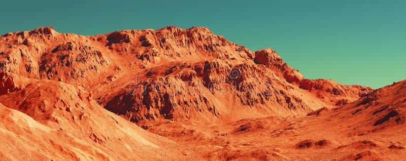 Mars landscape, 3d render. Of imaginary mars planet terrain, science fiction illustration stock illustration