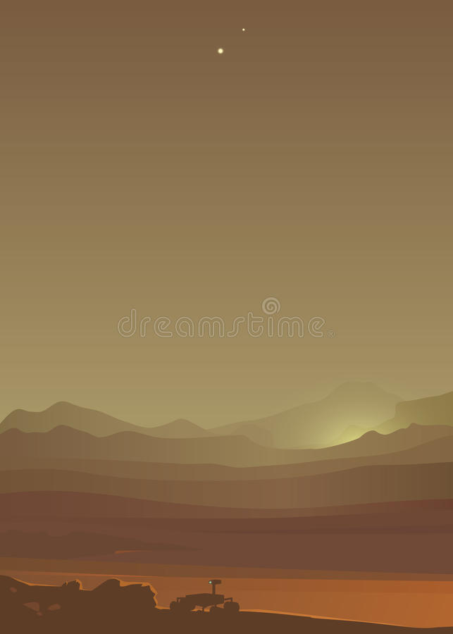 Mars landscape. Mars rover in the valley royalty free illustration