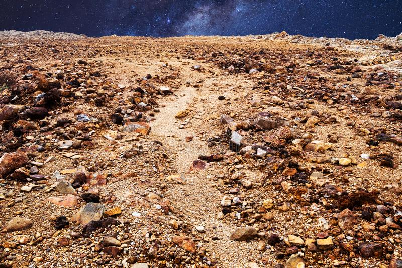 Mars landscape, stones and space stars. Mars landscape, ground stones and space stars, surface planet royalty free stock photos