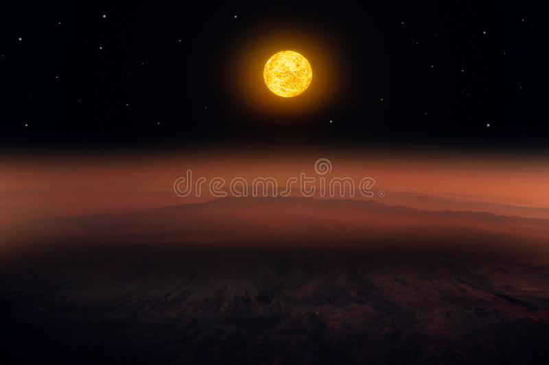 Mars is a large rock with thin atmosphere . vector illustration
