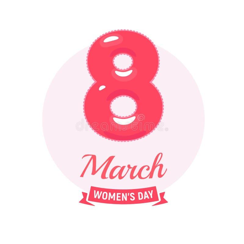 8 mars le logo, icône du jour des femmes, couleur de pastels ivre tendre, vecteur de bande dessinée a isolé le signe illustration de vecteur
