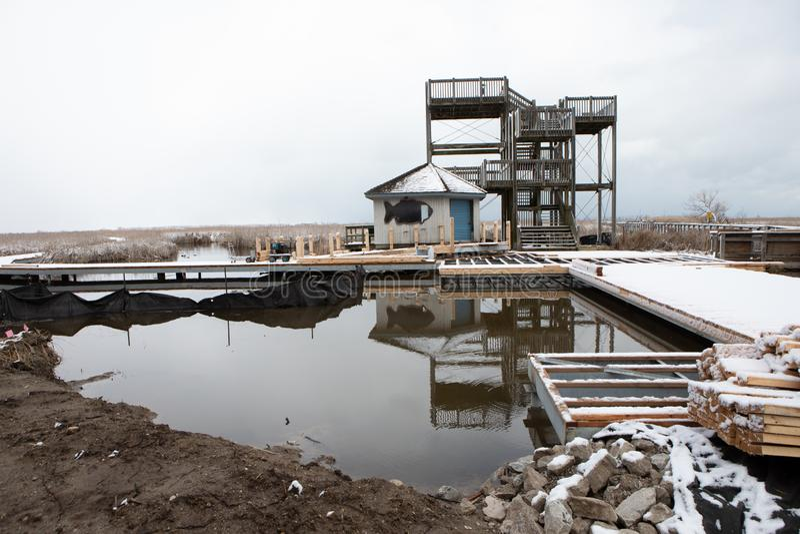 31 mars 2019 Leamington, parcs d'Ontario Canada dirigent la promenade de Pelee en construction image stock
