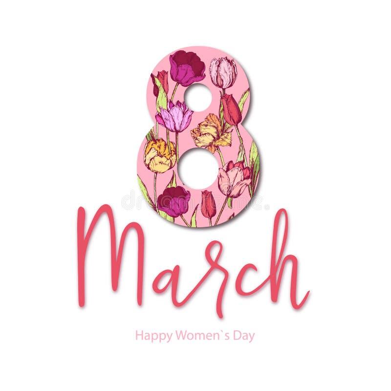 8 mars Lycklig dag för ` s för moder för kvinna` s blå blom- hälsning för kortdesign royaltyfri illustrationer