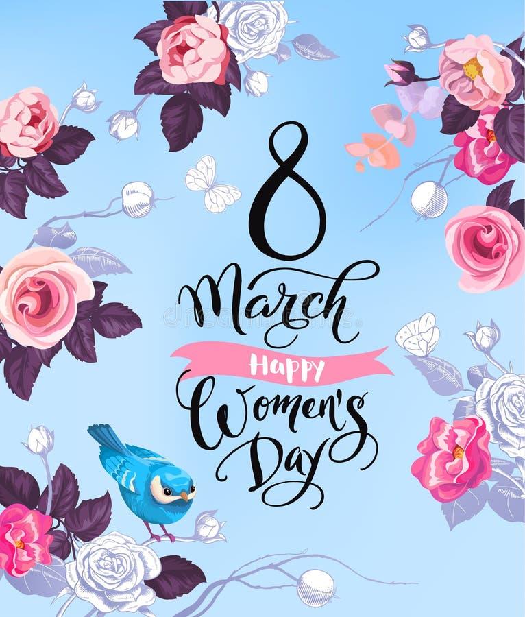 8 mars Lyckligt kort för hälsning för dag för kvinna` s Älskvärd handbokstäver som omges av halva-färgat rosor, fjärilar och gull royaltyfri illustrationer