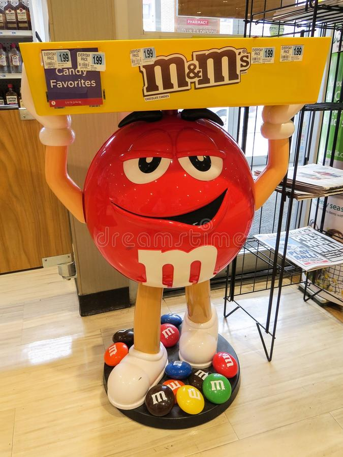 Mars M&M Mascot Candy Display In A Store In New Jersey, Editorial Use royalty free stock photo