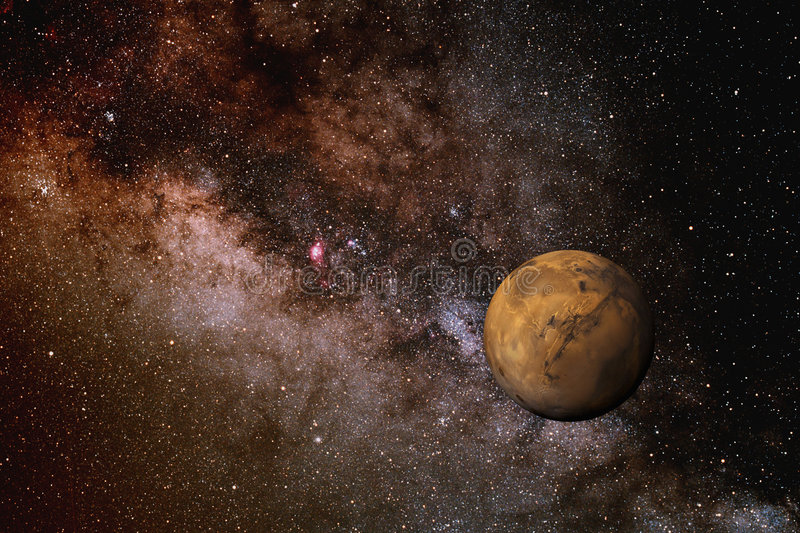 Mars and the Milky Way stock image