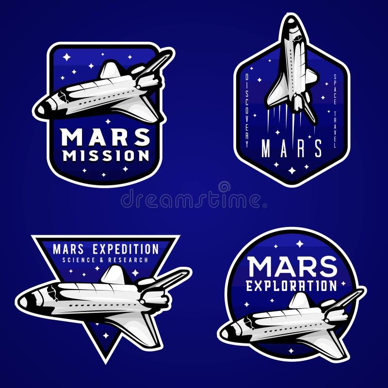 Mars mission blue logos, set of Mars themed labels vector illustration