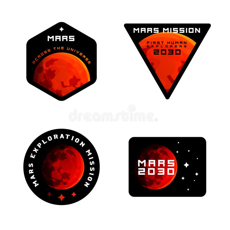 Mars mission emblems concept. Mars exploration logos in colored modern style. vector illustration