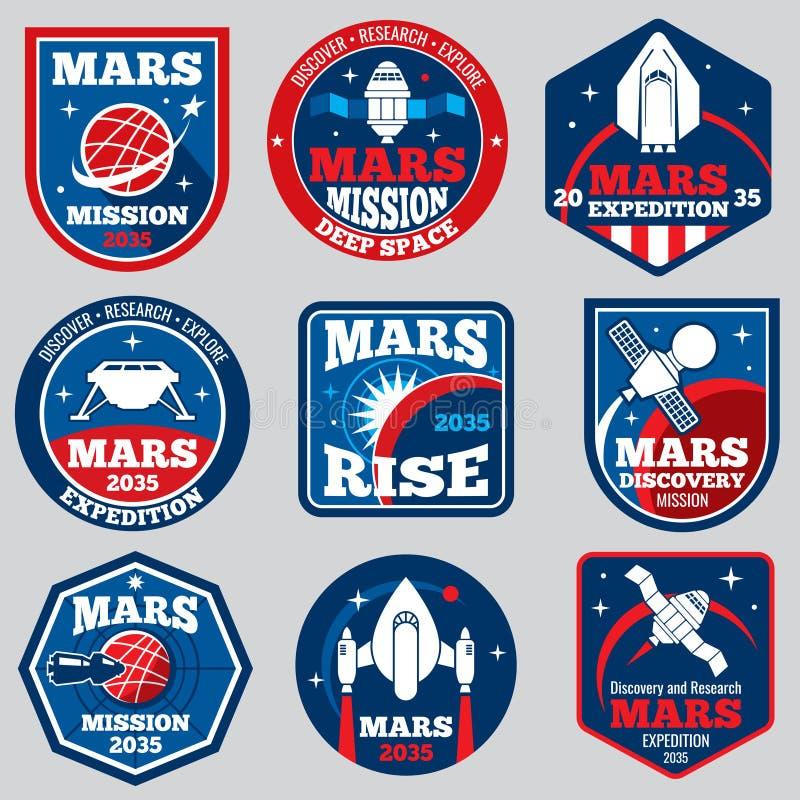 Mars mission vector space emblems. Astronaut travel badges vector illustration