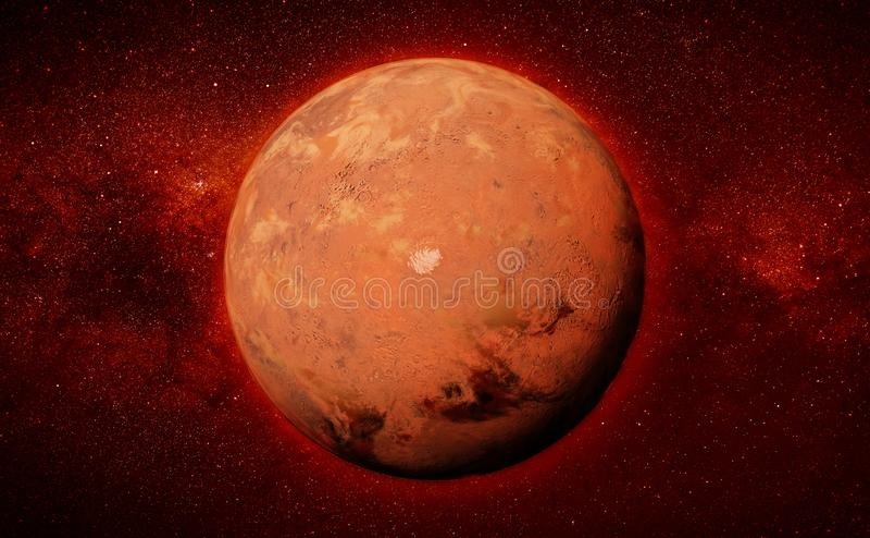 Mars mit der roten Südpolkappe des Planeten und der Illustration der Milchstraßegalaxie 3d, Elemente dieses Bildes wird vorbei ve stockfotografie