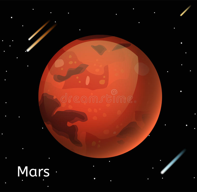 Mars planet 3d vector illustration stock vector for 3d outer space map