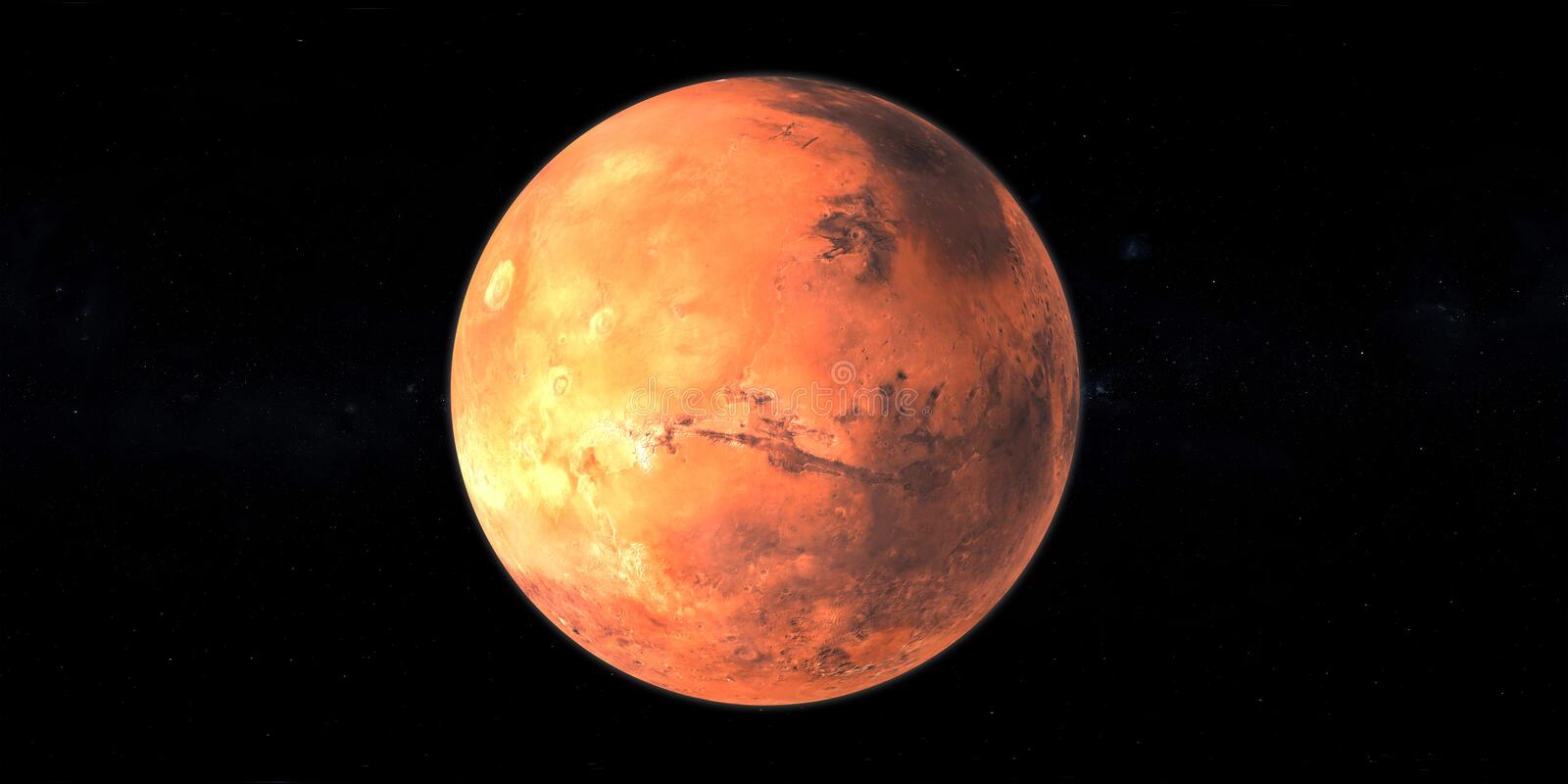 Mars planet red in space black background vector illustration