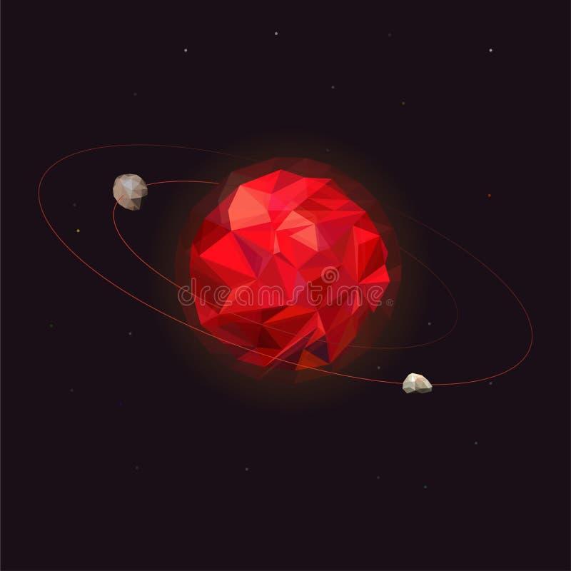 Mars planeta układ słoneczny Mars z dwa naturalnymi księżyc - Phobos i Deimos Kosmos planeta z oczodołowym royalty ilustracja