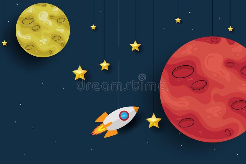 Mars planeta z rakieta papieru sztuki projekta tłem Śliczny projekt Kreskówki Astronautyczny tło również zwrócić corel ilustracji royalty ilustracja