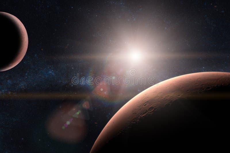 mars Planeten in zonnestelsel royalty-vrije stock afbeelding