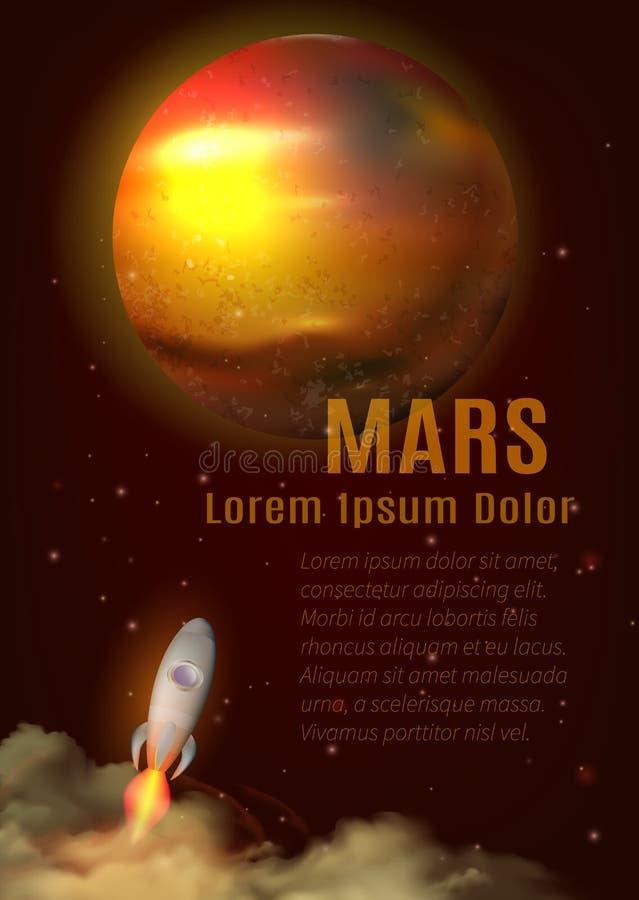 Mars planety plakat royalty ilustracja