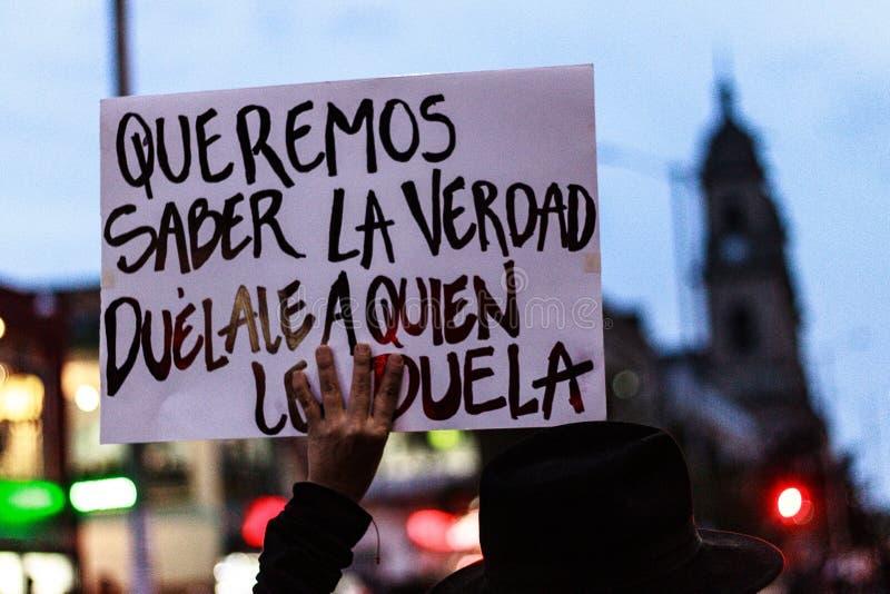 18 mars 2019 - mars pour la défense du PEC, juridiction spéciale pour le ¡ Colombie de Bogotà de paix photo libre de droits