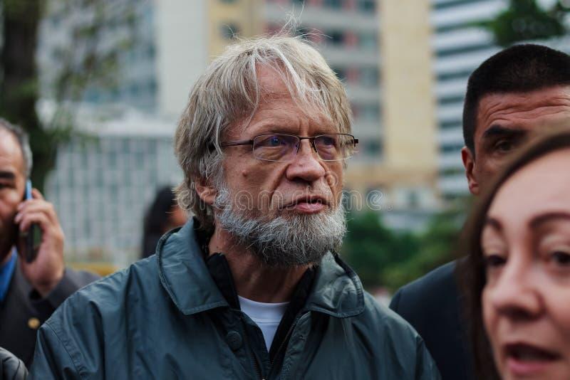 18 mars 2019 - mars pour la défense du PEC, juridiction spéciale pour le ¡ Colombie de Bogotà de paix images libres de droits