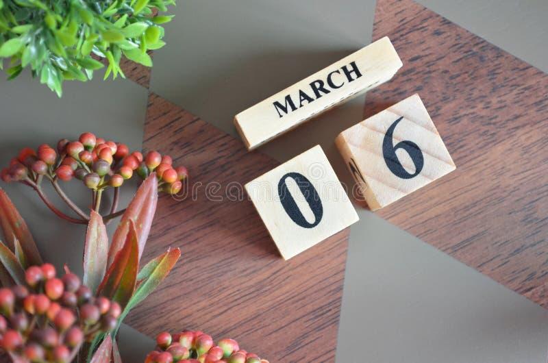 6 mars pour le fond photos stock