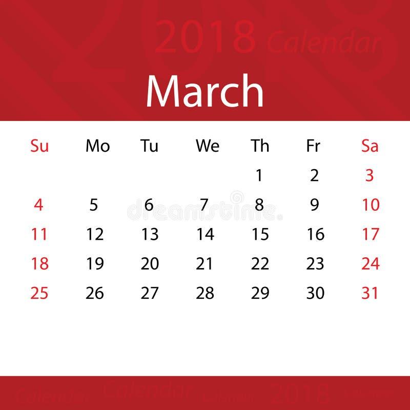 Mars 2018 prime rouge populaire de calendrier pour des affaires illustration de vecteur