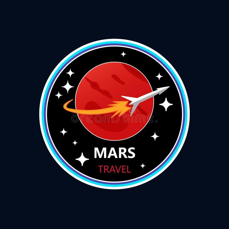 Mars programa misja Astronautycznej rakiety przygoda Mąci wektorową ilustrację dla etykietki, majcheru lub druku, zdjęcia royalty free