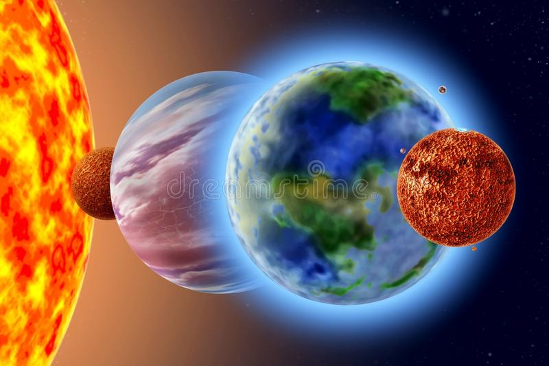 Mars - a quarter solar system planet. On background Sun and starry sky royalty free stock image