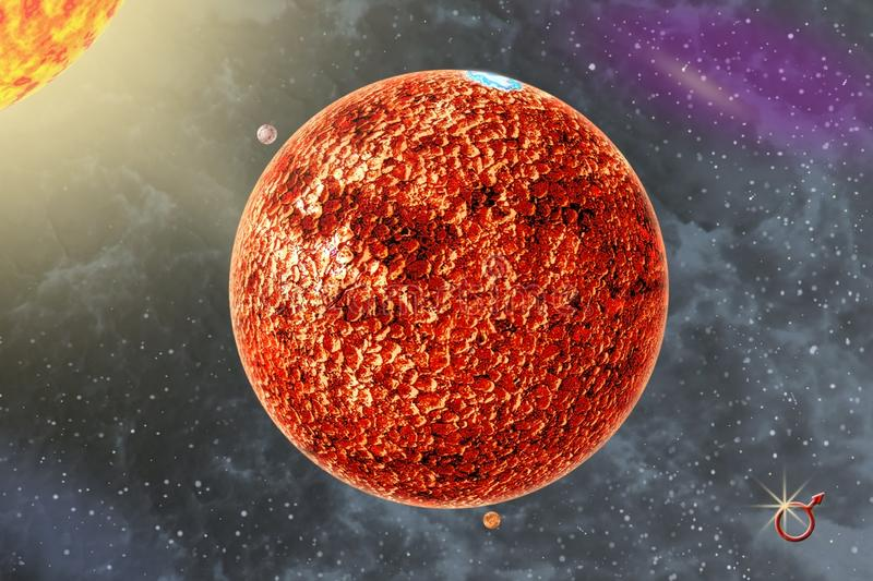 Mars - a quarter solar system planet. On background Sun and starry sky stock photos