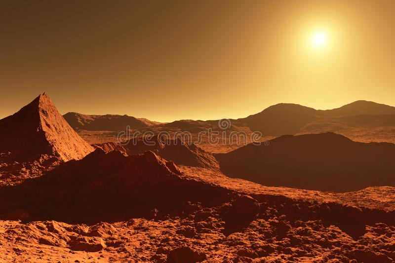 Mars - red planet - landscape with huge crater from impact and m. Ountains in the distance during sunrise or sunset - 3D illustration royalty free illustration