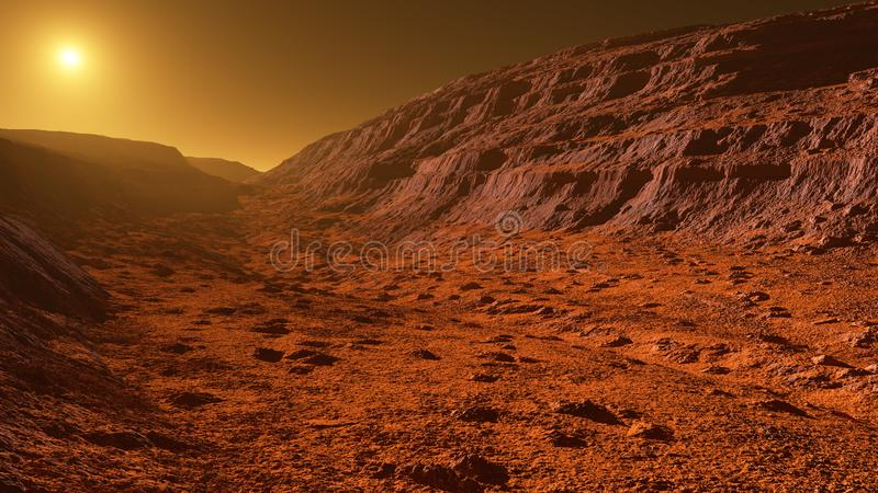 Mars - the red planet - landscape with mountains with sedimentary rock layers during sunrise or sunset vector illustration