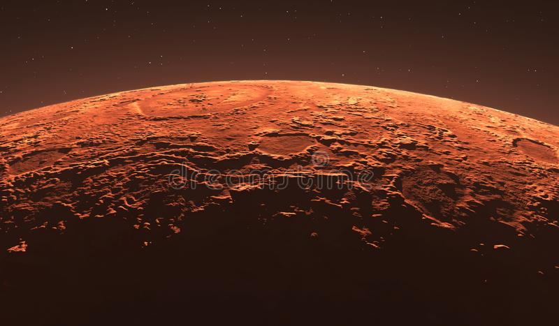 Mars - the red planet. Martian surface and dust in the atmosphere. stock illustration
