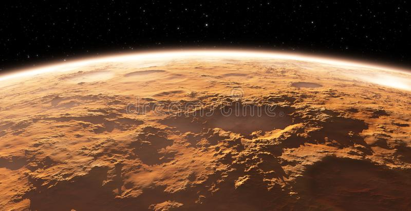 Mars - the red planet. Martian surface and dust in the atmosphere. 3D illustration vector illustration