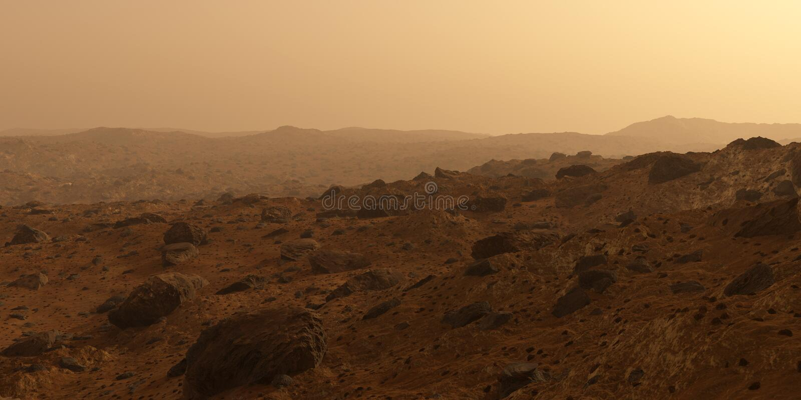 Mars the red planet surface, hills with rocks. Mars, the red planet surface view hills with rocks shattered around and orange red sky, 3D rendering royalty free stock image