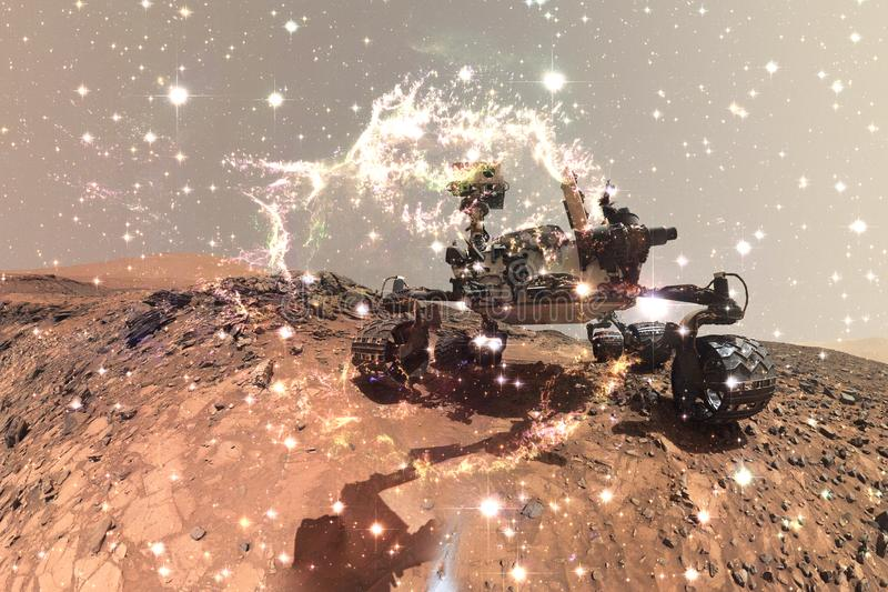 Mars Rover de curiosité explorant la planète extérieure de Mars illustration de vecteur