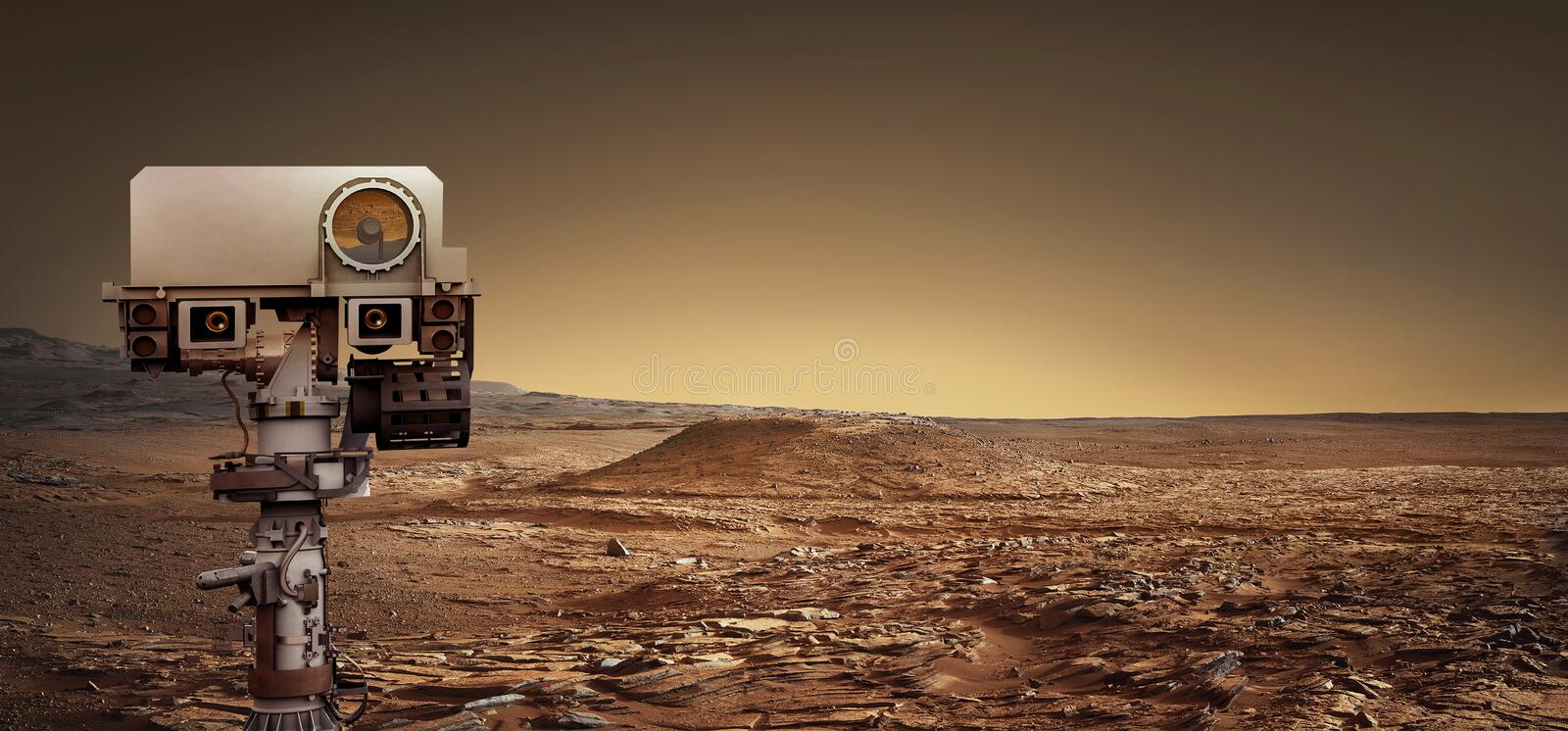 Mars Rover explores the red planet. Elements of this image furnished by NASA. stock images