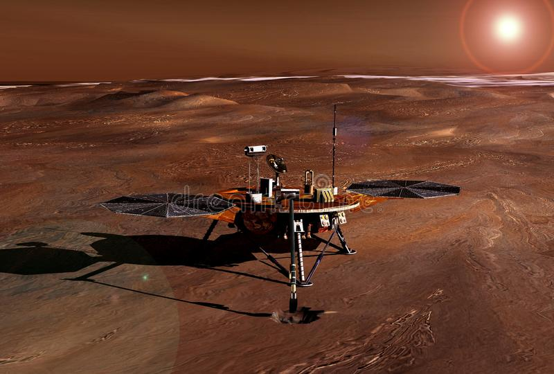 Mars rover explores the surface of the planet Mars. Elements of this image were furnished by NASA stock photography