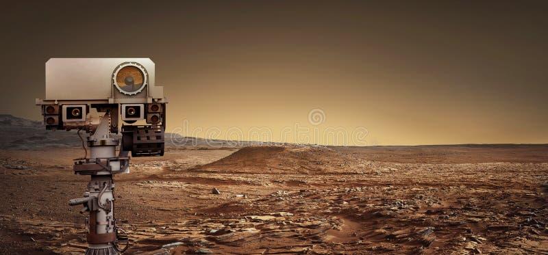 Mars Rover onderzoekt de rode planeet Elementen van dit beeldfurni stock afbeeldingen