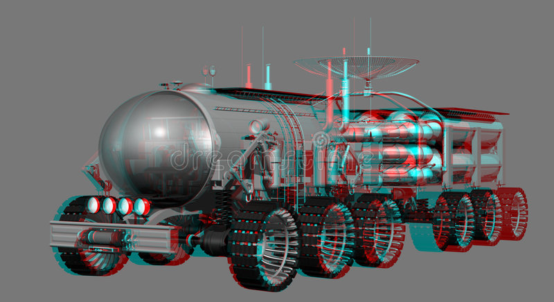 Mars Rover Stereo Anaglyph. Stereo 3D Red/Cyan Anaglyph of Mars Landtrain stock illustration