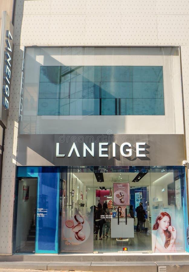Mars 2019 - Séoul, Corée du Sud : Stock de la marque de luxe sud-coréenne Laneige de soins de la peau, possédé par Amore Pacifiqu photographie stock