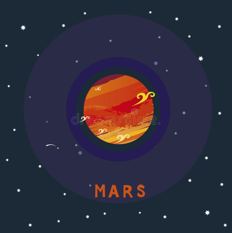MARS space view vector illustration