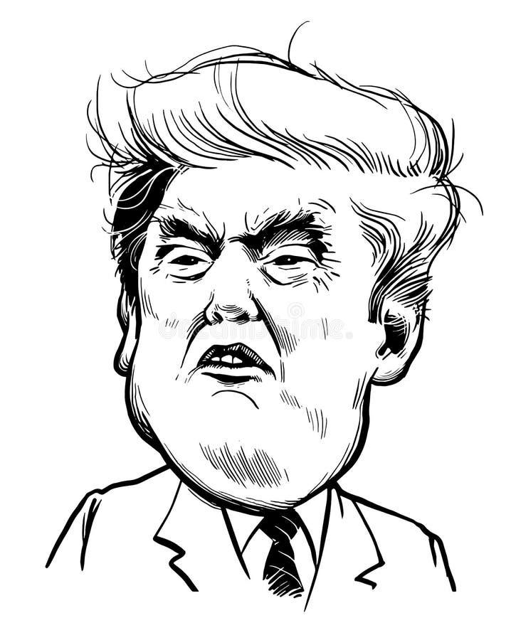 Mars 21, 2018: Stående av Donald Trump Vektorillustration EPS10 michigan för amerikansk auto konvertibel detroit redaktörs- inter stock illustrationer