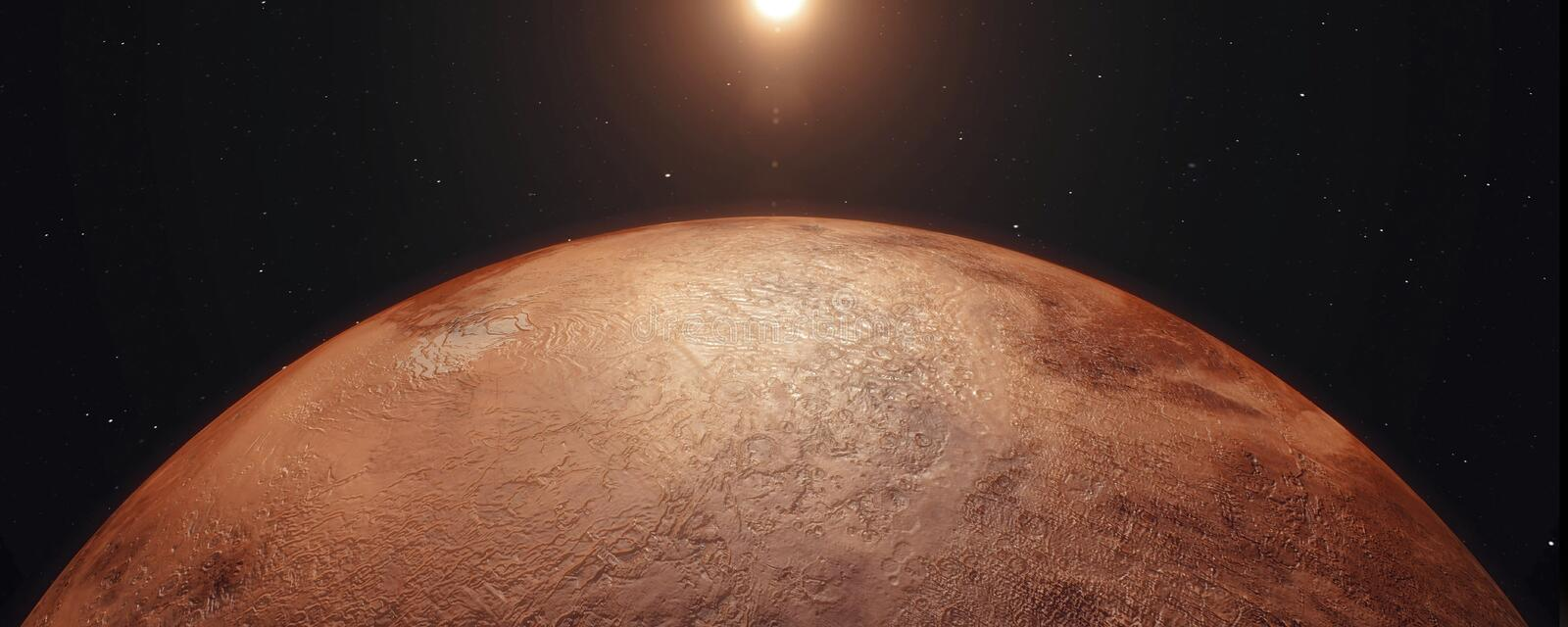 Mars, Sunrise over Planet Mars, Dark side of the red planet with shading 3d rendering. royalty free illustration