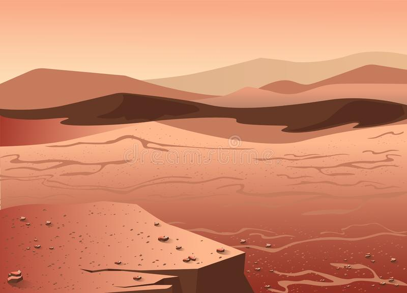 Mars surface panorama or landscape. Martian scenery with rocky cliffs, lifeless desert and dunes. Banner or background template with panoramic view of Red stock illustration