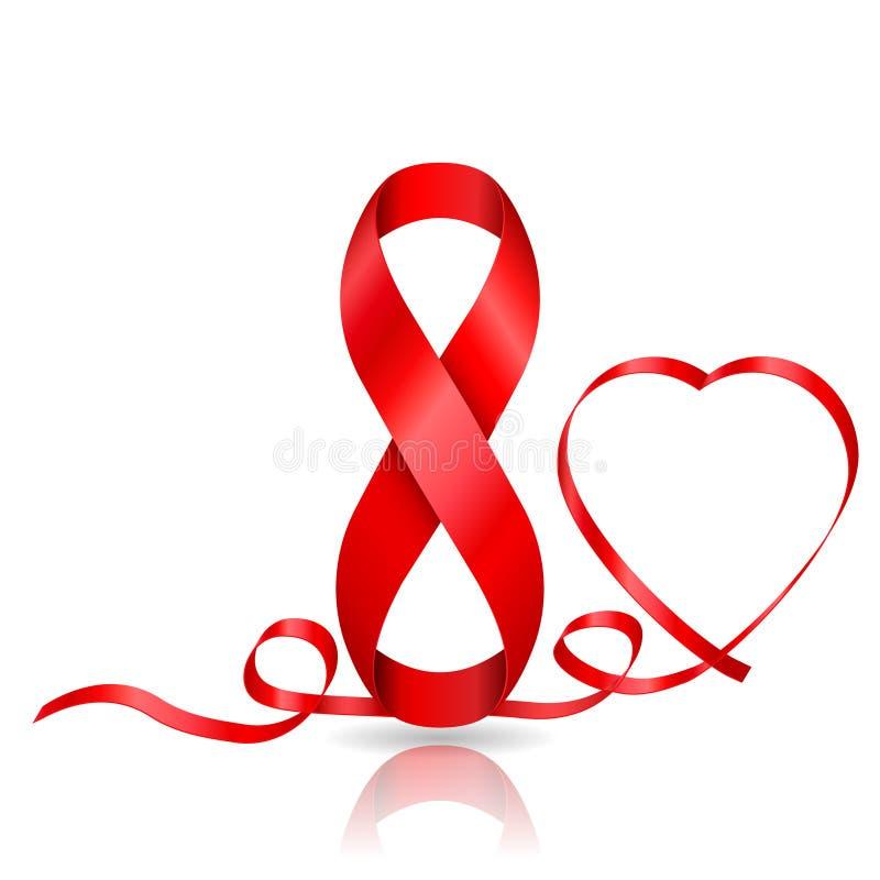 8 mars symbole de ruban rouge et de ruban dans en forme de coeur illustration libre de droits