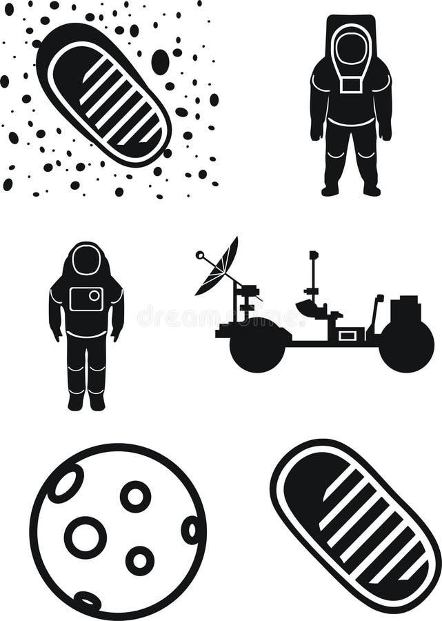 Mars, trouble le vagabond, le cosmonaute, première étape sur la lune illustration stock