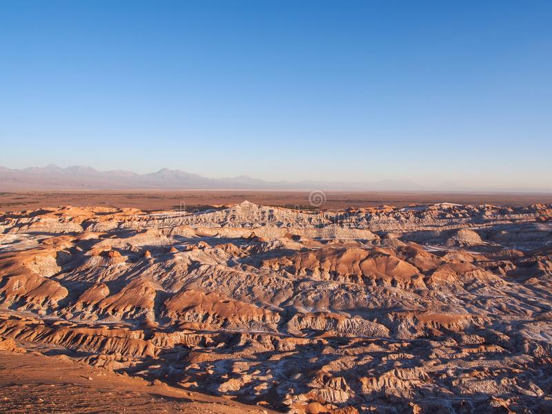 Mars Valley or Death Valley rock formations, Atacama desert, during sunset stock image