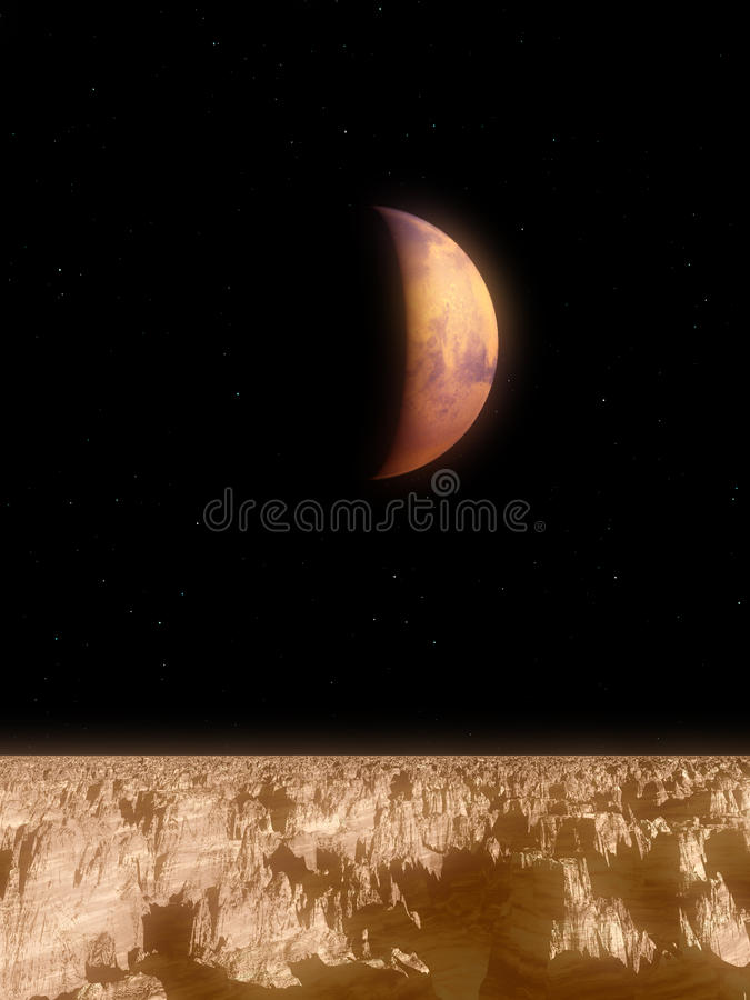 Download Mars View stock illustration. Image of horizon, round - 14942607