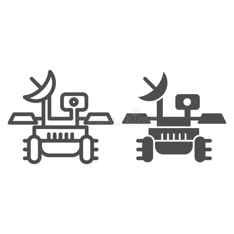 Mars włóczęgi linia i glif ikona Badawczego modułu voyager wektorowa ilustracja odizolowywająca na bielu Badacza konturu styl ilustracji