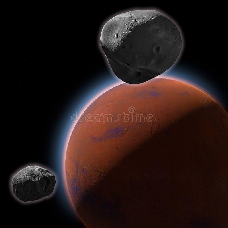 Mars, ziemi skorupa, księżyc, Phobos i Deimos Mars, przestrzeń, układ słoneczny royalty ilustracja
