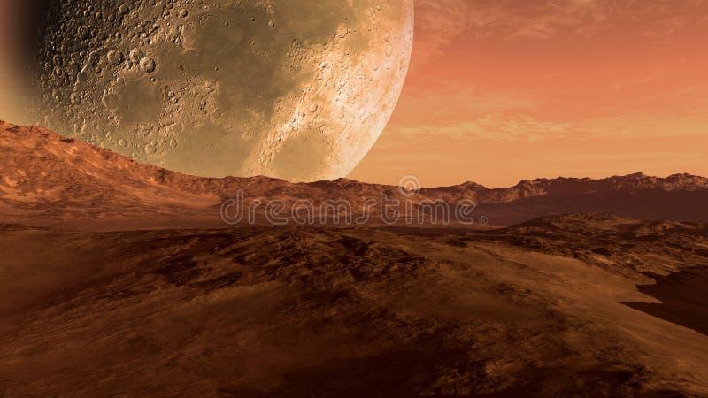 Mars zoals rode planeet met Maan stock illustratie